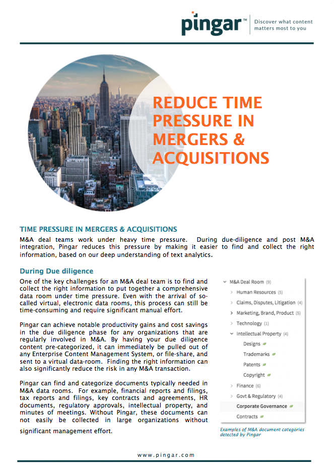 Pingar homepage learn how to reduce time pressure in mergers and acquisitions fandeluxe Image collections
